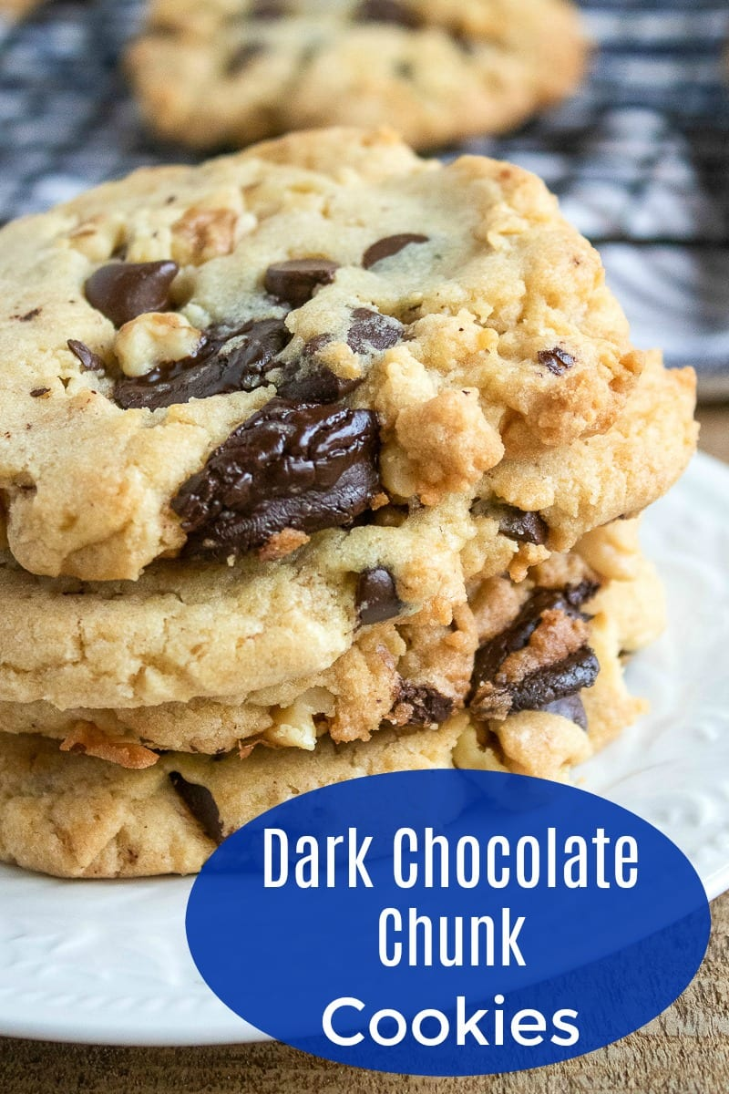 pin stack of dark chocolate chunk cookies
