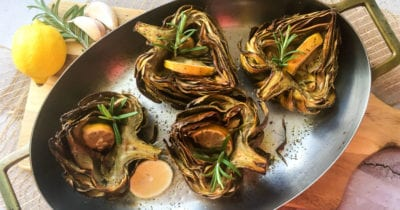 feature oven roasted artichoke halves
