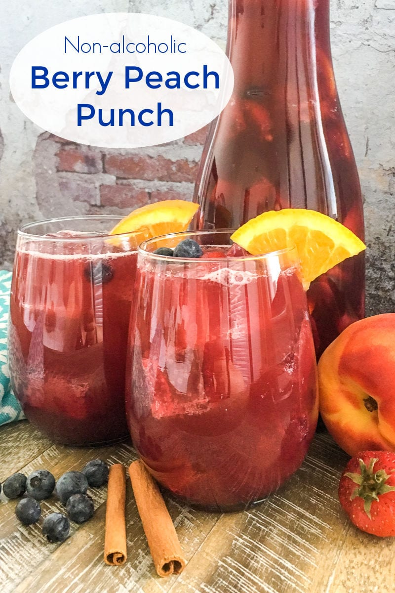 Non-alcoholic Berry Peach Punch Recipe - Make a pitcher of my fruity berry peach punch, when you want a flavorful and refreshing non-alcoholic party drink that the whole family can enjoy.