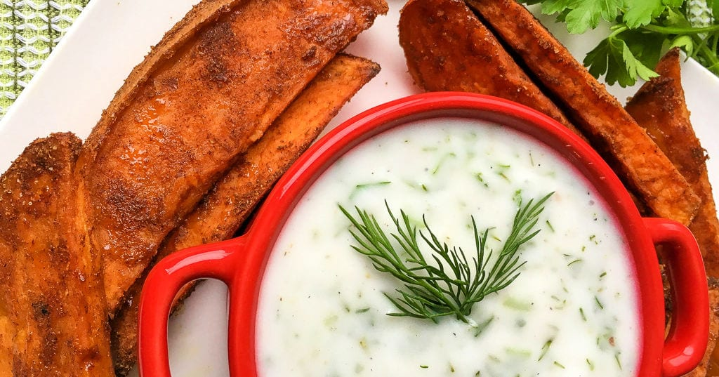 coconut dip with sweet potato fries