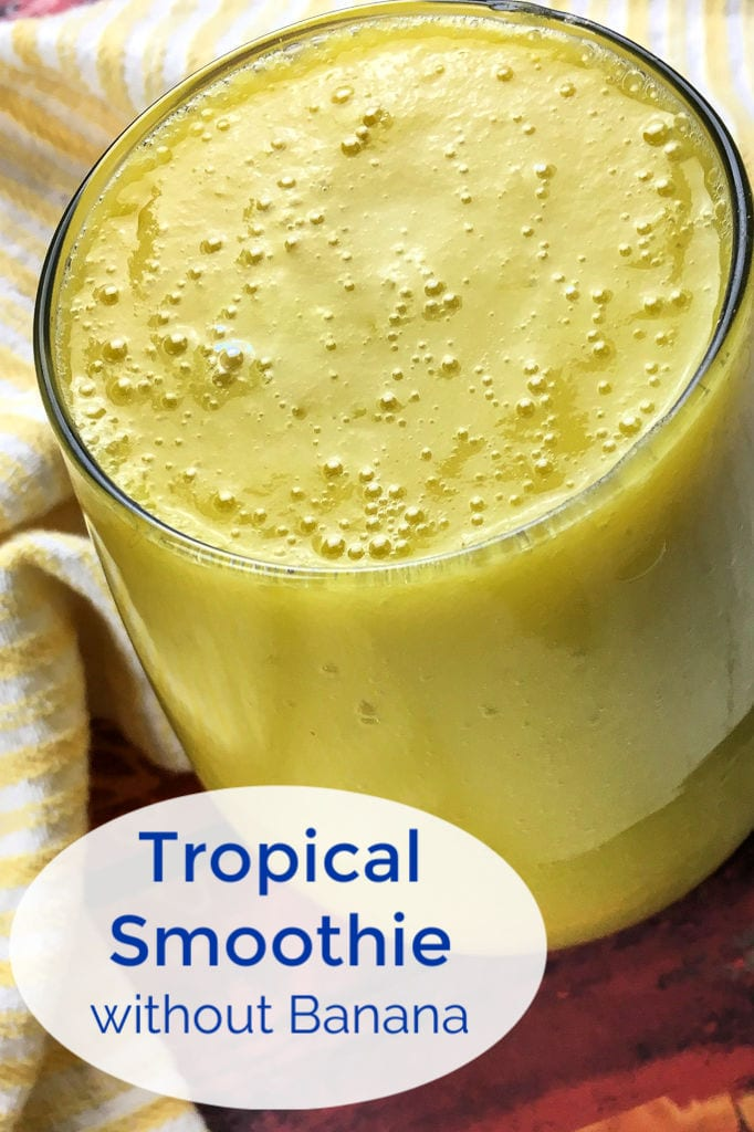 Vegan Tropical Smoothie without Banana Recipe #VeganSmoothie #SmoothieWithoutBanana #TropicalSmoothie #MangoSmoothie #CoconutSmoothie #PineappleSmoothie