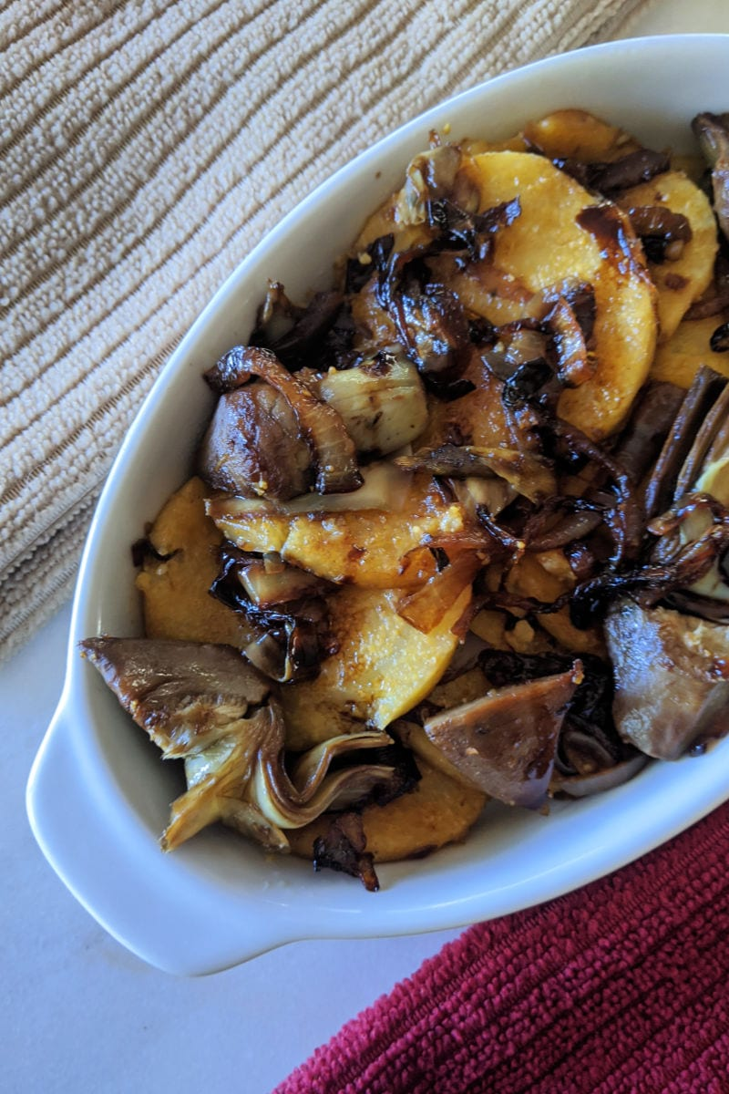 Caramelized Onion and Artichoke Polenta Recipe #Polenta #ArtichokePolenta