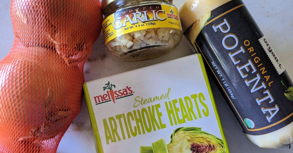 onions garlic polenta and artichoke hearts