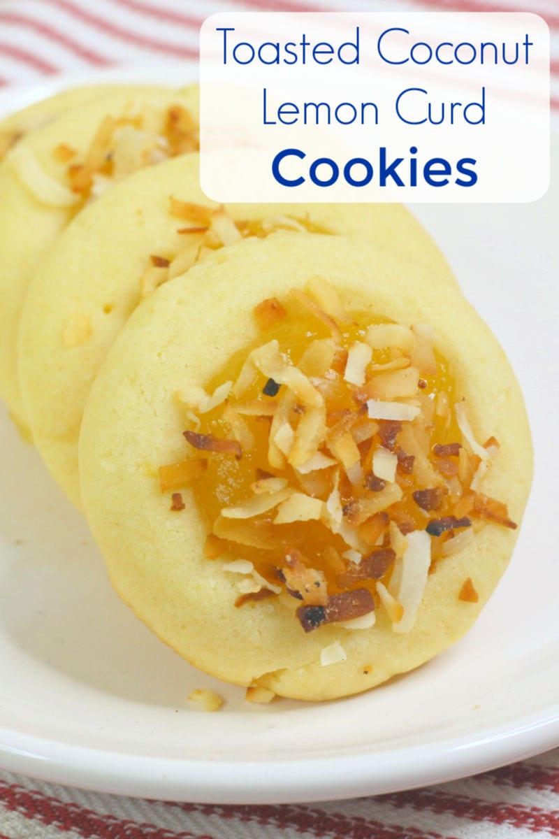 Toasted Coconut Lemon Curd Cookies Recipe #ThumbprintCookies #CookieRecipe #Cookies