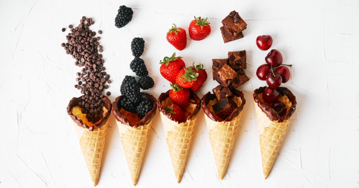 fruit and chocolate filled cones