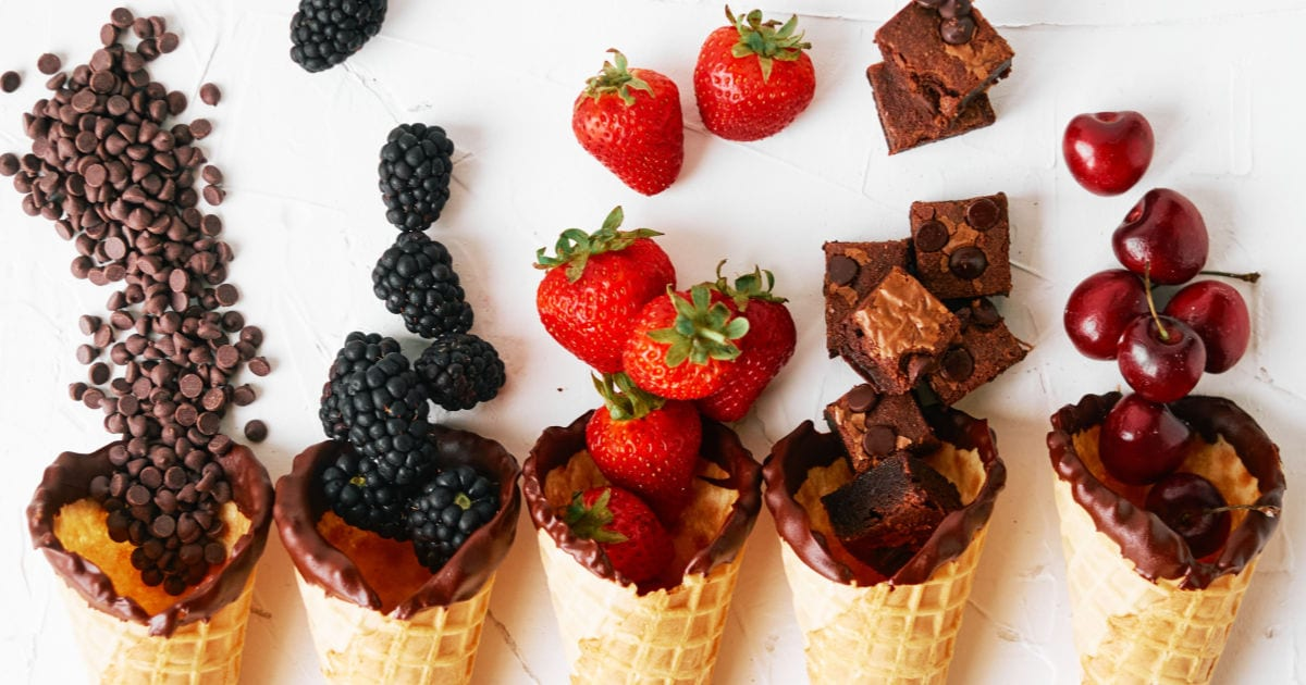 fruit and chocolate waffle cones