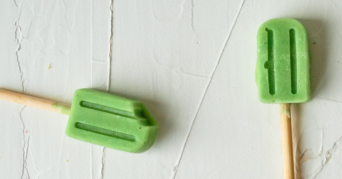 two avocado popsicles