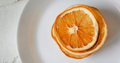 overhead view of deydrated orange slices