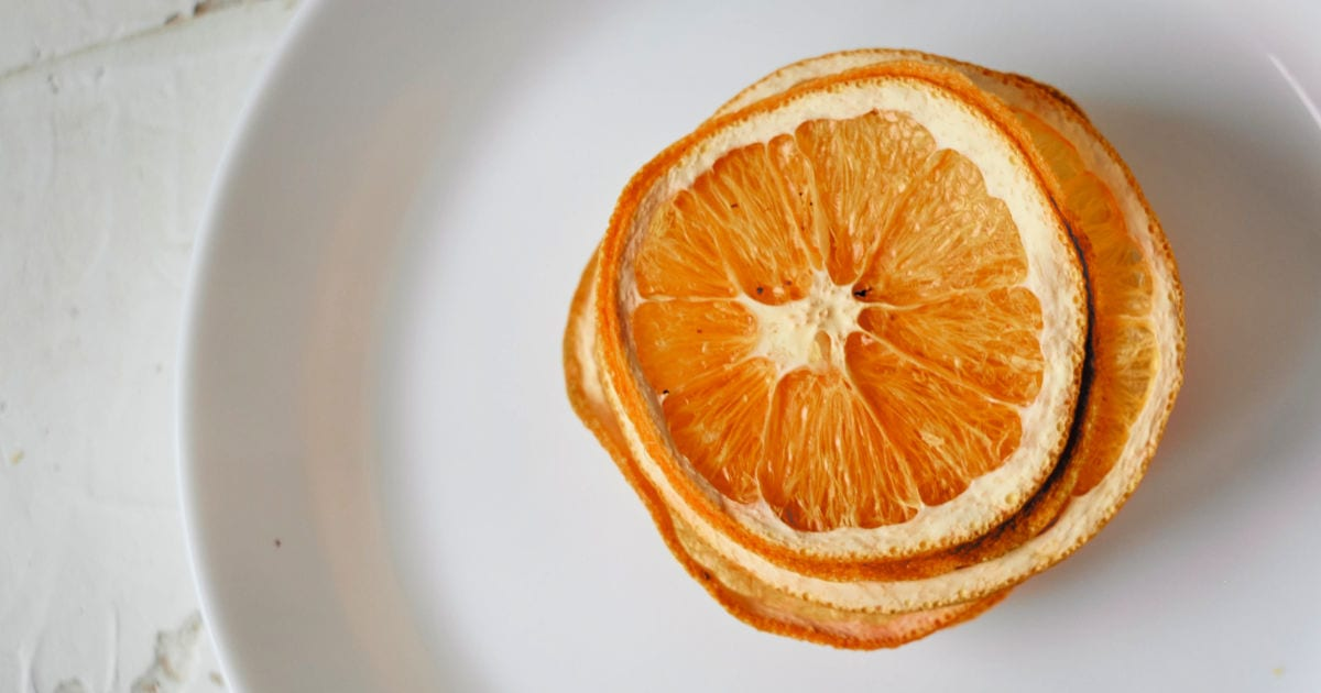overhead view of deydrated orange slices