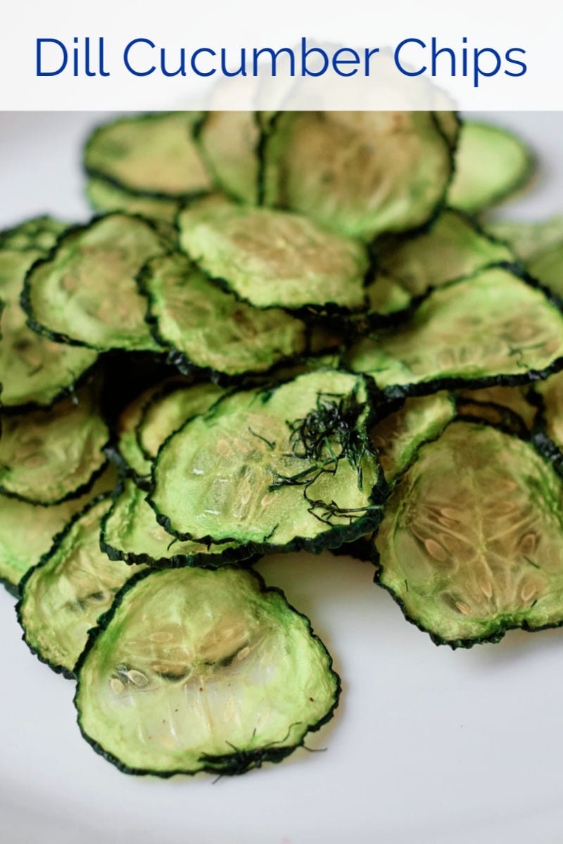 Dill Cucumber Chips in the Oven or Dehydrator #CucumberChips #DehydratedCucumbers