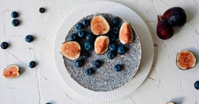 whole blueberry and fig chia pudding cake