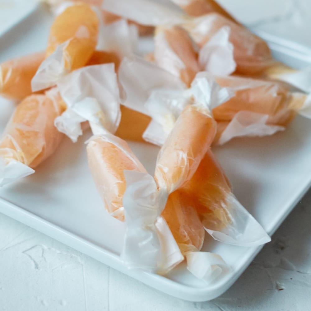 wrapped pumpkin caramel candies