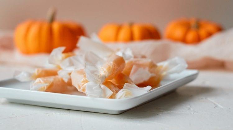 plate of pumpkin caramels