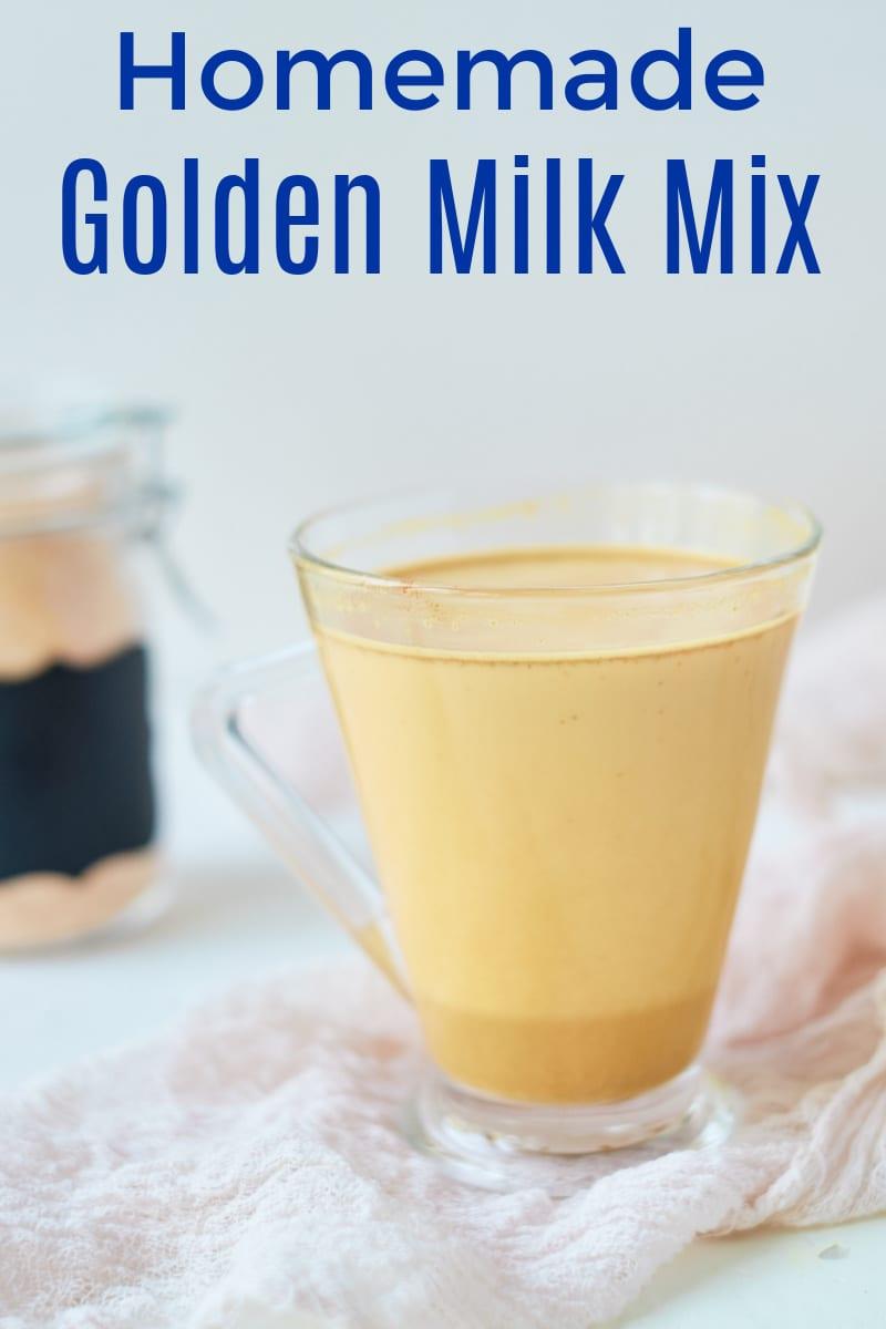 glass mug of golden turmeric milk