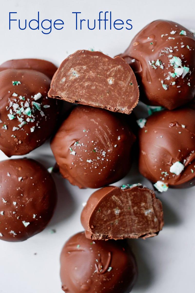 Peppermint Fudge Truffles Recipe #fudge #truffles
