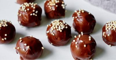 quinoa topped chocolate banana truffles
