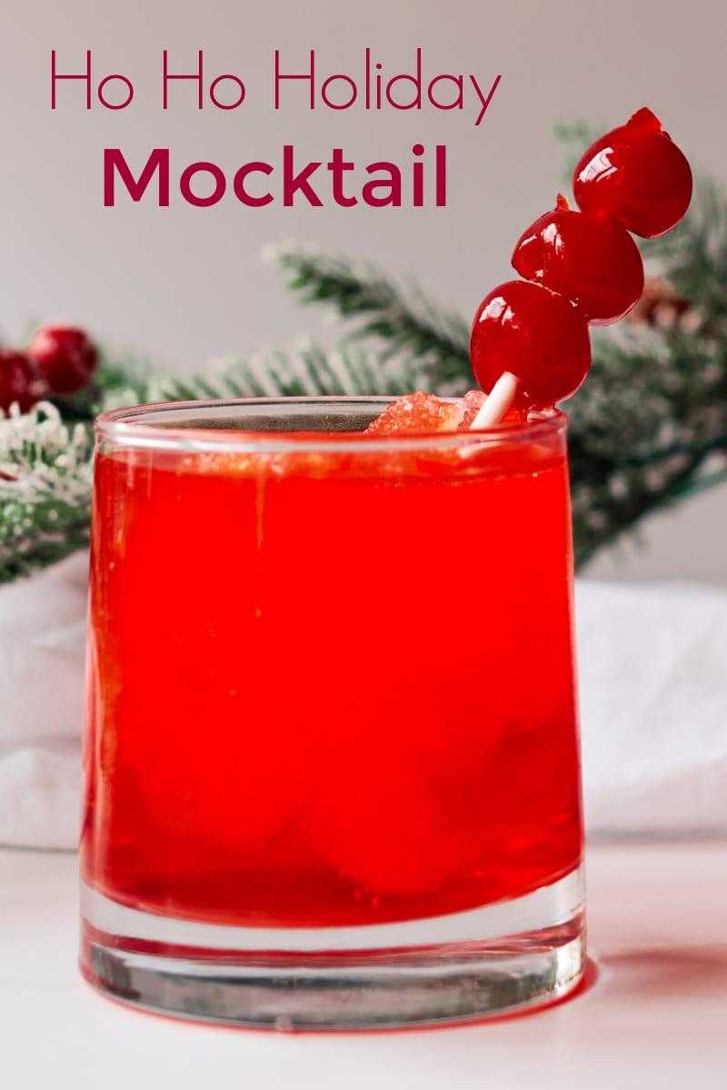 Ho Ho Holiday Cherry Slush Mocktail Recipe #mocktail #holidaymocktail