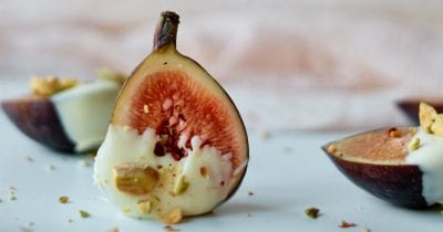 pistachio white chocolate dipped fig