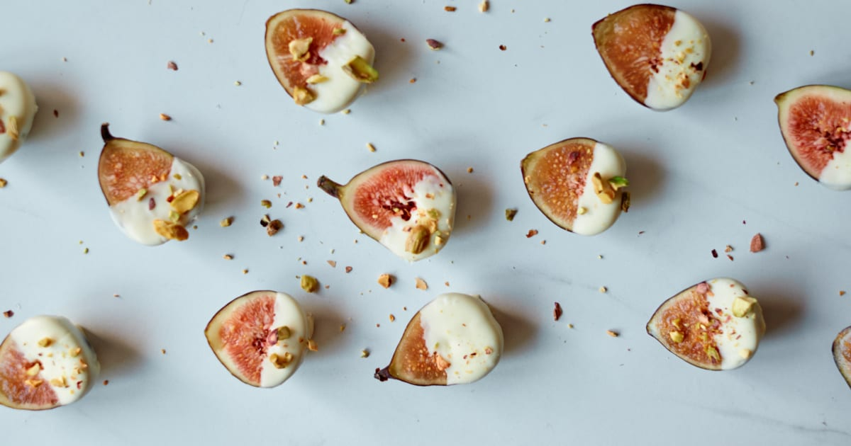 pistachio white chocolate dipped figs