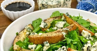 feature blue cheese roasted pear salad