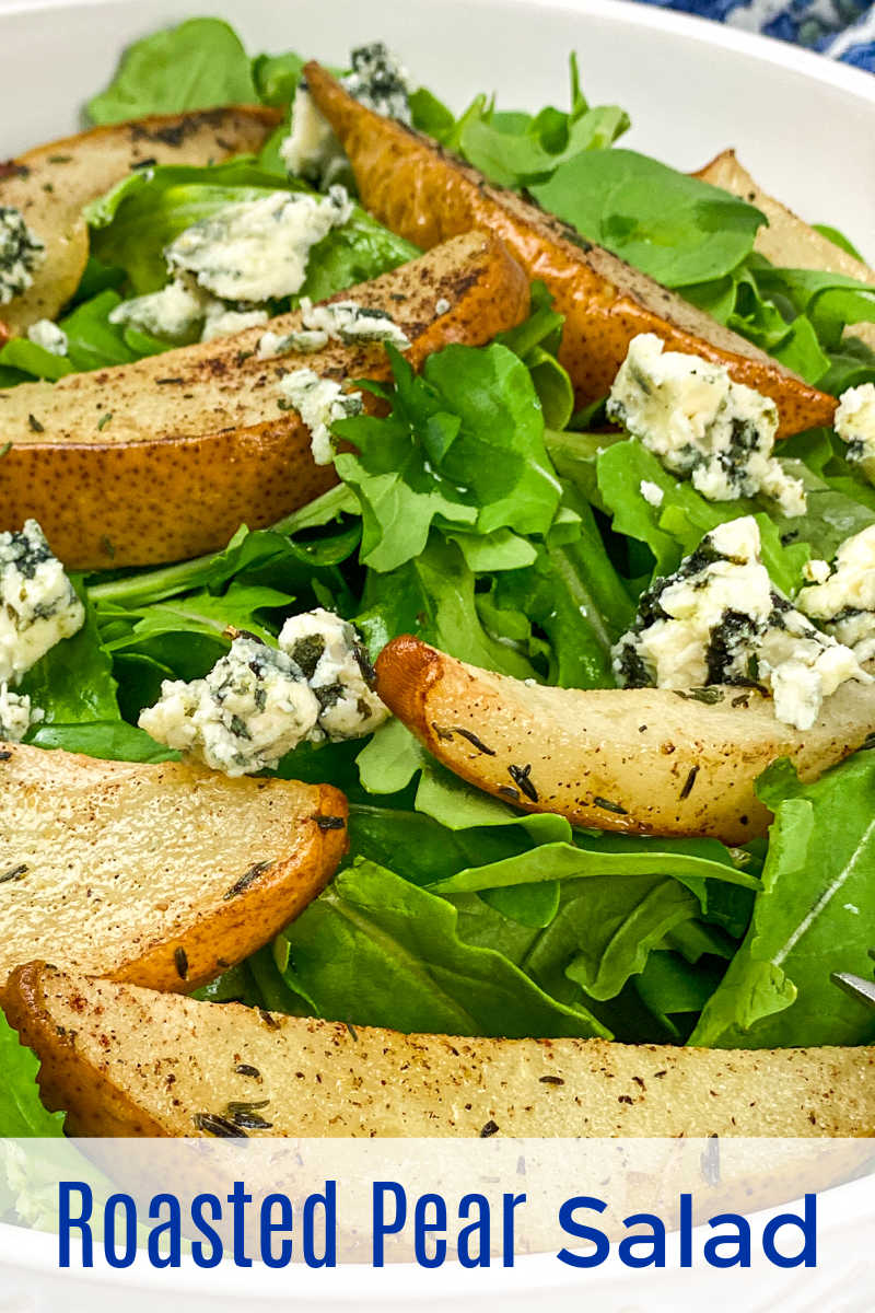 This blue cheese and roasted pear salad is easy to make and only has 5 ingredients, but it is packed with bold, satisfying flavor.