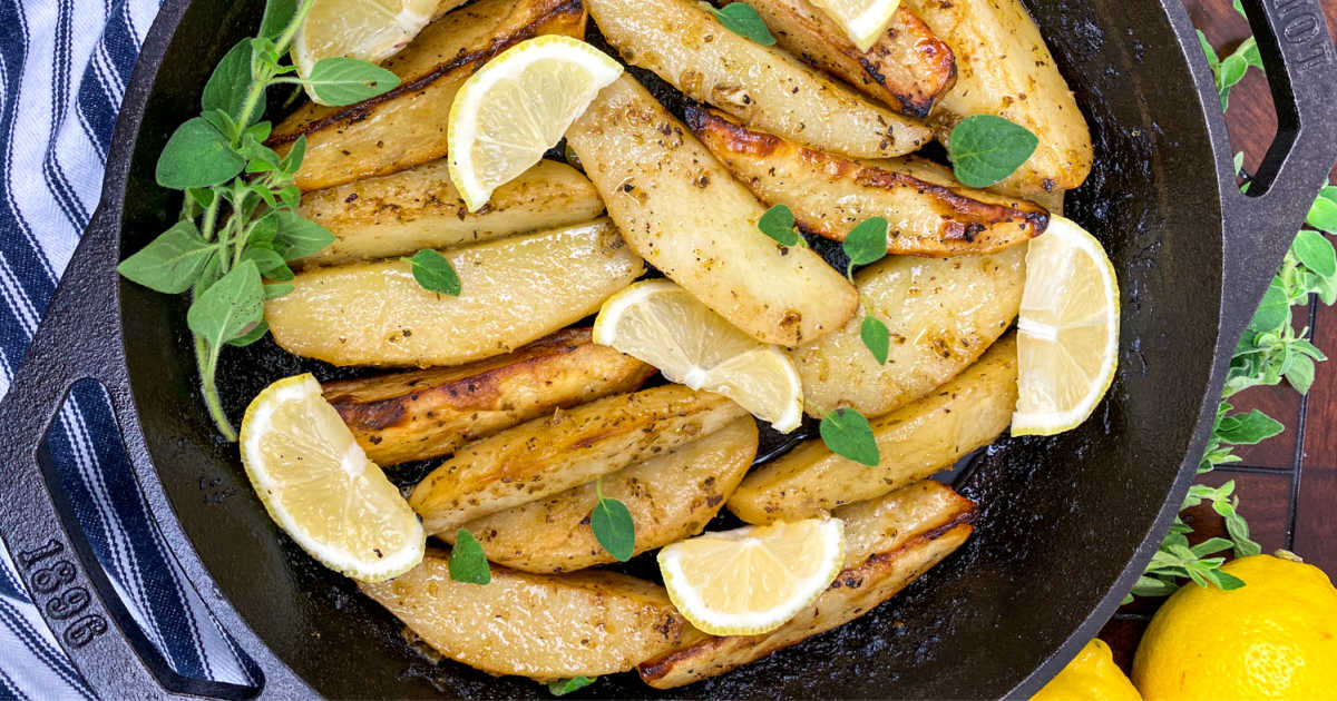feature cast iron skillet greek potatoes