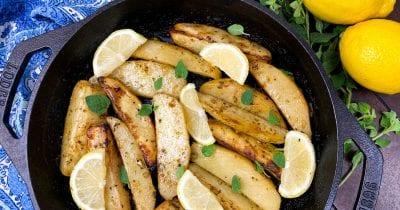 feature skillet greek potatoes