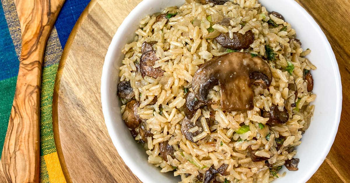 vegan instant pot mushroom rice