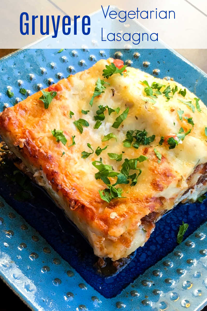 This Gruyere vegetarian lasagna is actually made with five different types of cheese, but it's the Gruyere that is the star of the dish.