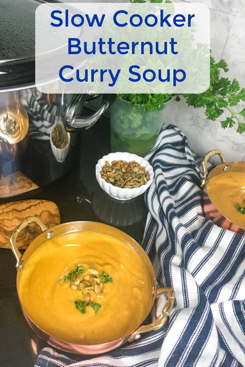 Make my butternut curry soup in your slow cooker, when you want to warm up with a satisfying comfort food meal.