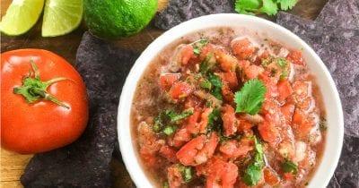 bowl of homemade salsa.