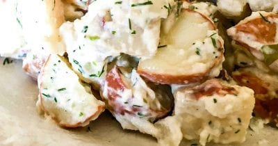 creamy herbed red potato salad made in a microwave oven.