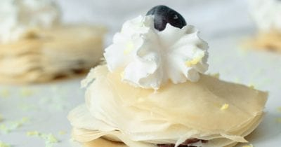 blueberry filo stacks with whipped cream.