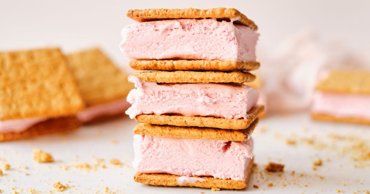 strawberry graham cracker ice cream ice cream sandwich stack.
