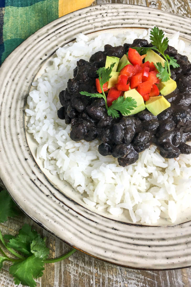 Make my Instant Pot black beans and rice, when you want a satisfying vegan dish inspired by the flavors of Cuba.