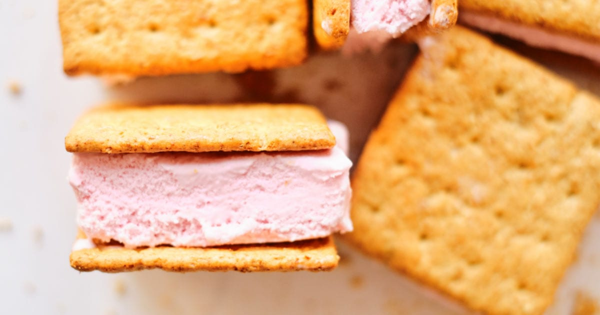 several homemade strawberry ice cream sandwiches.