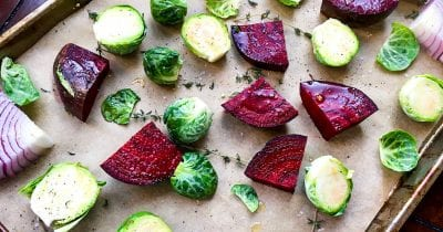 brussels sprouts and beets on pan.