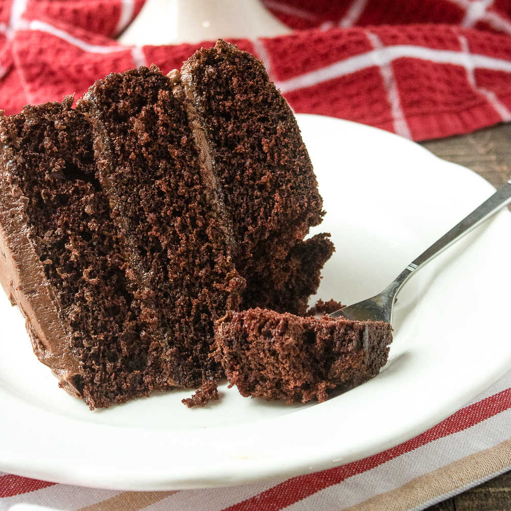 chocolate layer cake on white plate with fork.