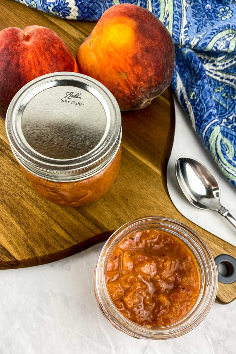 This quick and easy fresh peach compote is both sweet and savory, so you will enjoy each delicious drop of this fruit condiment.