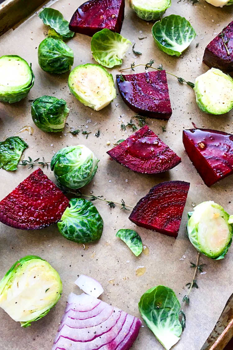 Roasted veggies are a family favorite that we enjoy often, so it's great that these brussels sprouts and beets are easy to make.