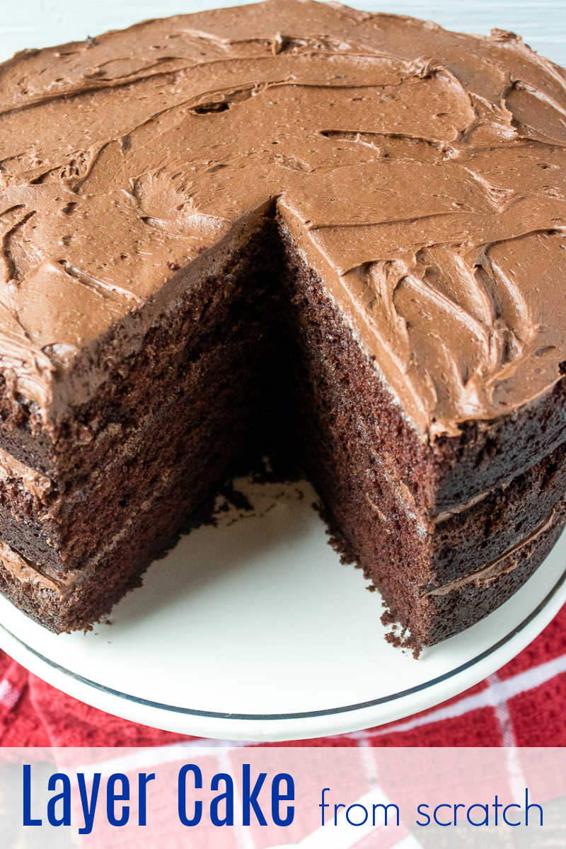 This gorgeous chocolate layer cake has three layers and is made from scratch, so you will enjoy every decadent bite.