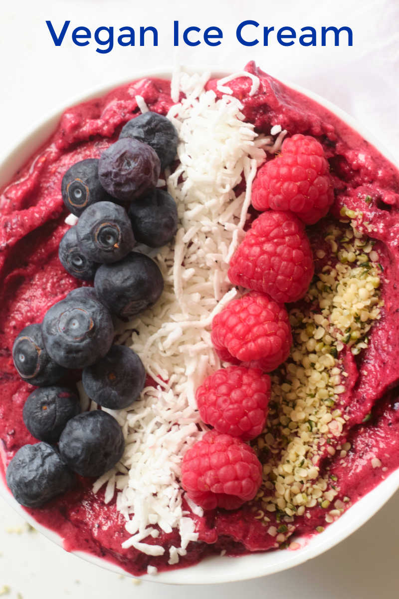 Enjoy a bowl of my no churn vegan berry ice cream, when you want a quick and easy frozen nice cream treat.