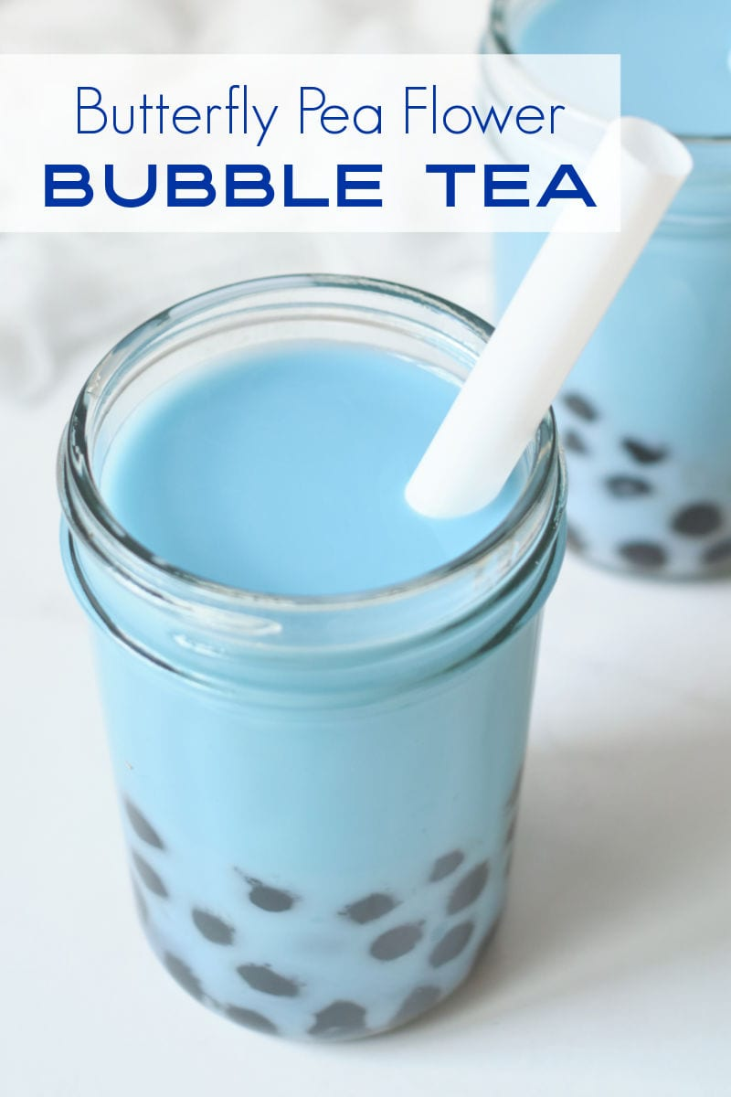 Blue boba milk tea is delicious and the beautiful color is all natural, since the bubble tea is made with butterfly pea flower tea.