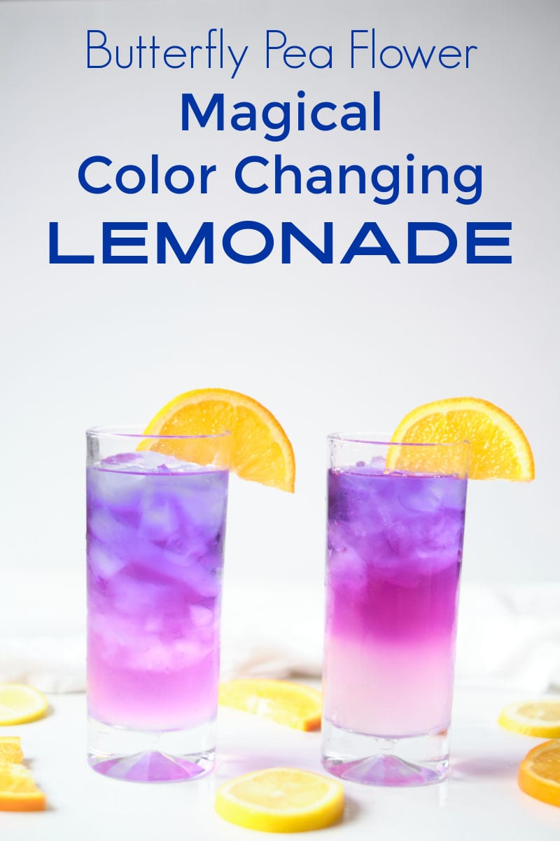 When you want a tasty beverage with a fun twist, make color changing lemonade with butterfly pea flower tea.