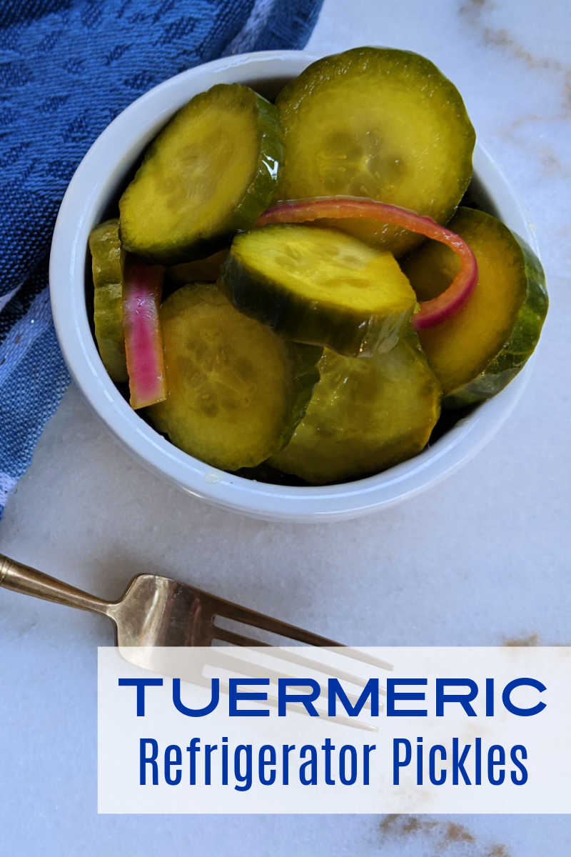 Turmeric refrigerator pickles are easy and absolutely delicious, whether you make them with cucumbers, zucchini or yellow squash.