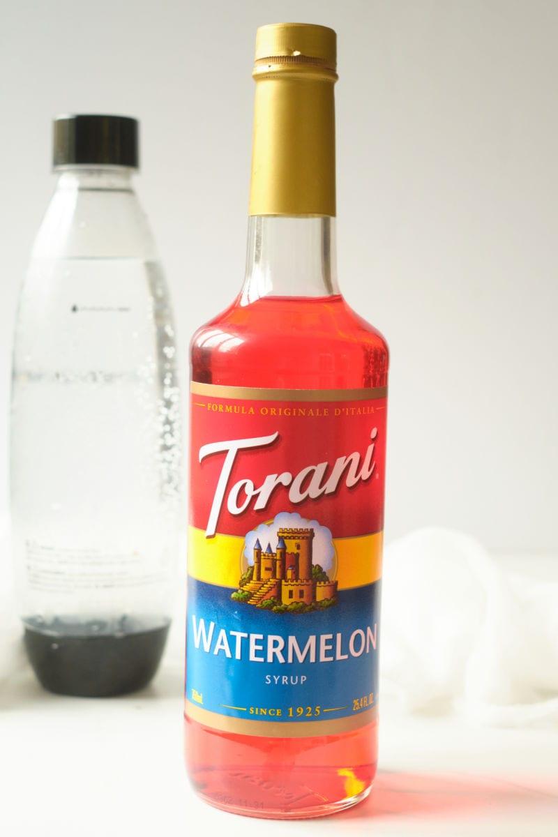 ingredients for watermelon italian soda recipe.