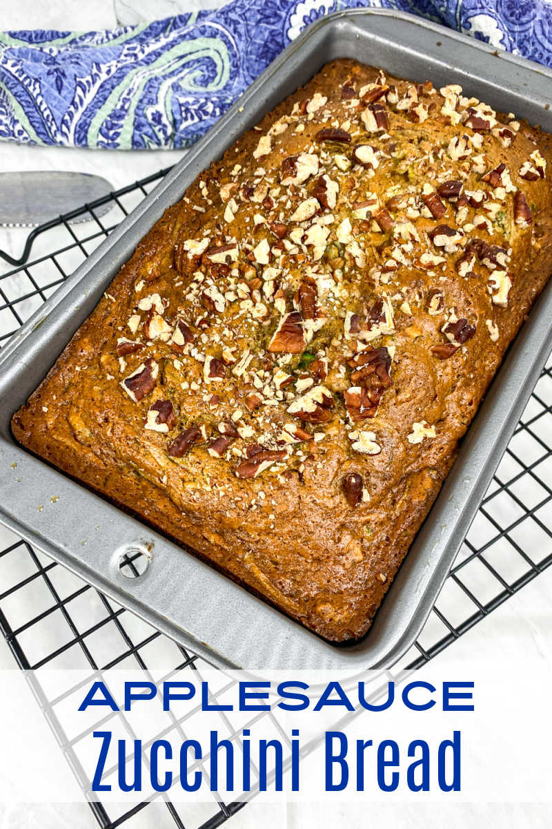 loaf pan with zucchini bread.