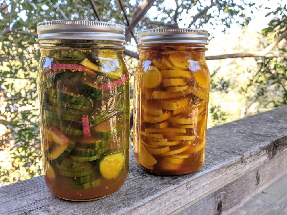 pickles in mason jars.