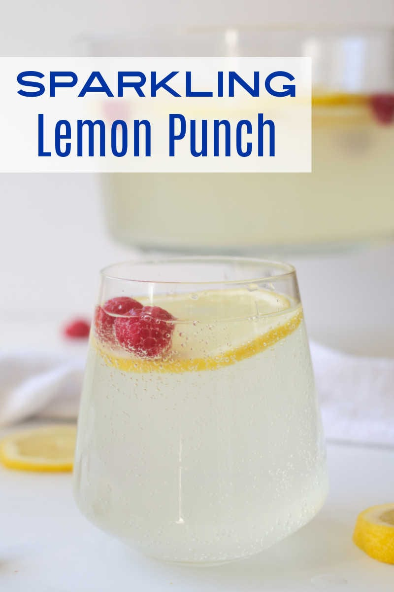 When you want a festive party punch without alcohol, make this sparkling lemonade punch garnished with lemon and raspberries.