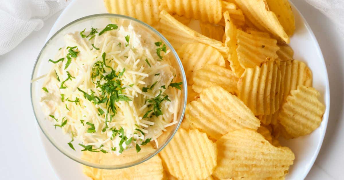 garlic parmesan chip dip.